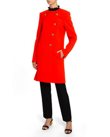 Givenchy Button-Front Wool Crepe Coat