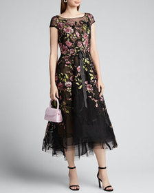 Marchesa Floral-Embroidered Ribbon-Waist Tea Lengt