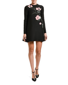 Valentino Floral-Embroidered Long-Sleeve shift Dre