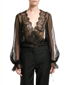 Valentino Sheer Silk-Lace Blouse