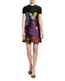 Valentino Short-Sleeve Floral Shift Dress