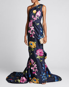 Marchesa One-Shoulder Floral-Embroidered Draped Go