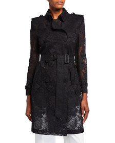 Givenchy Floral-Lace Double-Breasted Trench Coat
