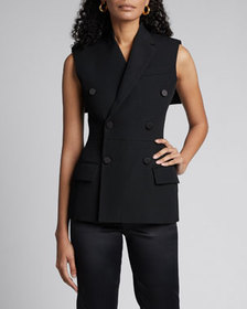 Givenchy Wool Double-Breasted Fitted Vest with Cap