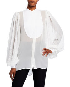 Givenchy Georgette Chevron-Sleeve Blouse w/ Puffy