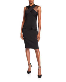Givenchy Crisscross-Front Tulle-Shoulder Bodycon D