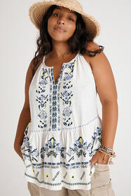 Anthropologie Neela Embroidered Babydoll Top