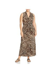 Vince Camuto Womens Plus Animal Print V-Neck Maxi