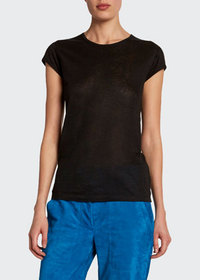 TOM FORD Stretch-Linen Cap-Sleeve Fitted Tee