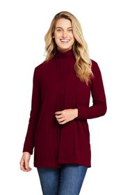 Lands End Women's Ribbed Open Front Long Cardigan