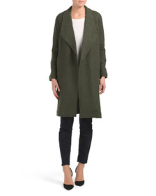 Solid Long Coat With Pockets And Seaming