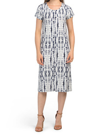 C&C CALIFORNIA Tie Dye Print Knit Midi Dress