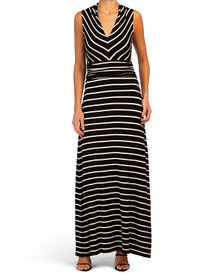 VINCE CAMUTO Petite Sleeveless Quarry Stripe Maxi