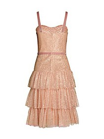 Marchesa Metallic Tiered Fit-and-Flare Dress