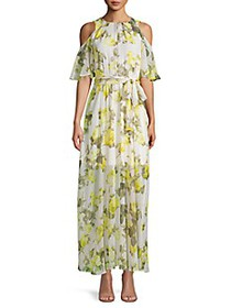 Calvin Klein Cold-Shoulder Floral Chiffon Dress