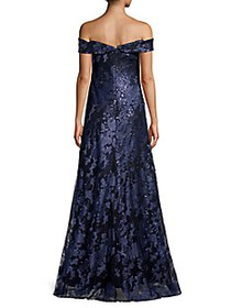 Rene Ruiz Collection Sequin Off-The-Shoulder Gown