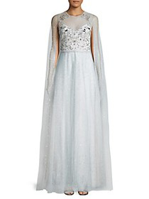 Marchesa Notte Embellished Cape Gown