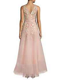Marchesa Notte Floral High-Low Gown