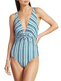 Jonathan Simkhai Metallic Striped One-Piece Swimsu