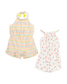 CYNTHIA ROWLEY Infant Girls 2pk Watermelon Rompers