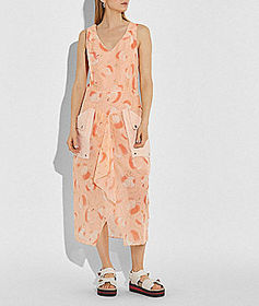 Coach apple print long dress with snap pockets