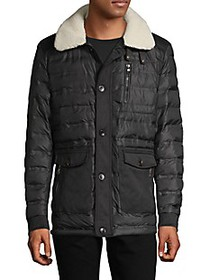 RNT23 Quilted Faux Fur-Trim Jacket