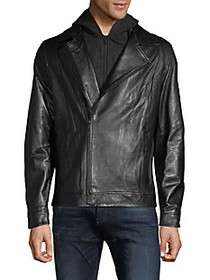 RON TOMSON Removable Hood Leather & Fleece Jacket