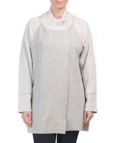 MAX STUDIO Plus Long Sleeve Sweater With Button