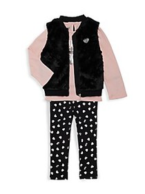 Juicy Couture Baby Girl's 3-Piece Faux Fur Vest, T