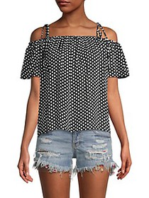 Milly Eden Silk Cold-Shoulder Polka Dot Top