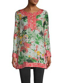 Milly Silk-Blend Combo Tunic Top