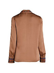 Kobi Halperin Owen Embroidered Stretch Silk Blouse