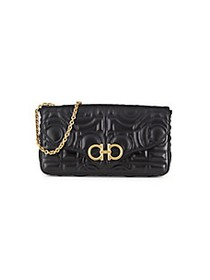 Salvatore Ferragamo Quilted Leather Wallet-On-Chai