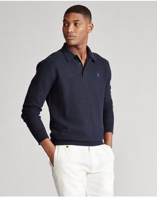Ralph Lauren Cotton Polo-Collar Sweater
