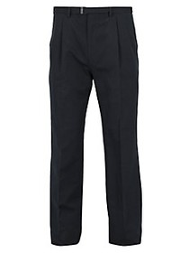 Brioni Belted Cotton & Cashmere Trousers