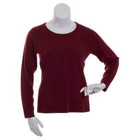 Womens Napa Valley Long Sleeve Crew Neck Cable Swe