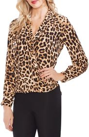 Vince Camuto Leopard Notch Collar Blouse