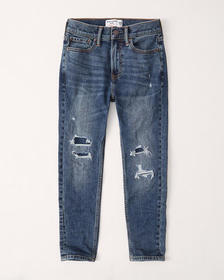 easy-fit taper jeans, DARK RIPPED WASH