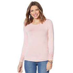 """As Is"" Colleen Lopez Long-Sleeve Tee with Ruching"