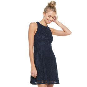 Juniors' Speechless Lace Dress with Back Bow Tie a