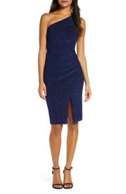 Vince Camuto One-Shoulder Glitter Knit Body-Con Dr
