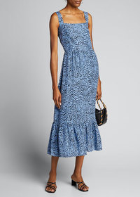 HVN Olympia Printed Sleeveless Gown with Ruffle He