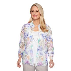 Women's Alfred Dunner Floral Lace Mock-Layer Top