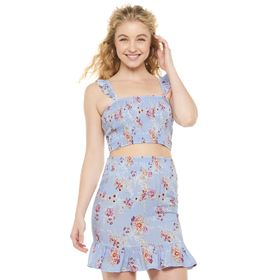 Juniors' Almost Famous Ruffled Strap Smocked Crop