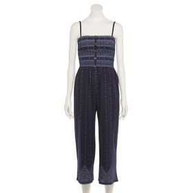Juniors' Almost Famous Smocked Button-Front Jumpsu