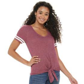 Juniors' SO® Knotted Front Varsity Tee