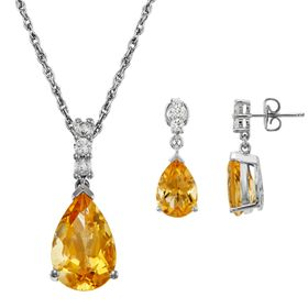 Sterling Silver Citrine & Lab-Created White Sapphi