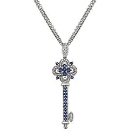 Sterling Silver Sapphire & Diamond Accent Key Pend