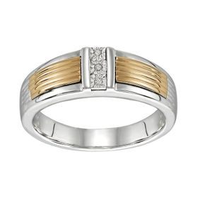 Men's Sterling Silver Two Tone Diamond Accent Ring