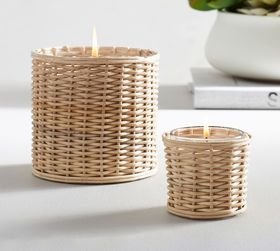 Pottery Barn Handwoven Rattan Scented Candles - Fr